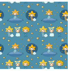 pattern with dwarfs and stars night elfs vector image
