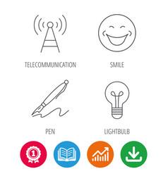 pen telecommunication and lightbulb icons vector image