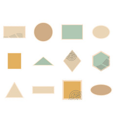 postage stamp icons set isolated vector image