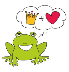 Prince or princess green frog dreaming about crown vector