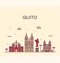 Quito skyline ecuador city linear style vector