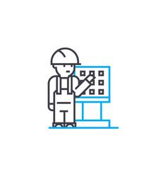 Remote control worker thin line stroke icon vector