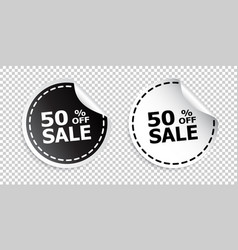 sale sticker sale up to 50 percents black and vector image