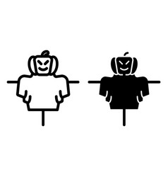 Scarecrow line and glyph icon jackstraw web vector