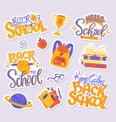 school sticker pack set modern vector image
