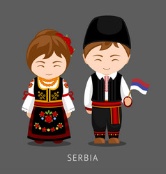 serbs in national dress with a flag vector image