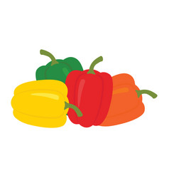 set four peppers yellow red orange and green vector image