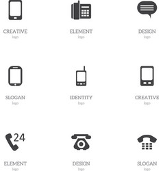 Set of 9 editable phone icons includes symbols vector