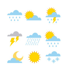 Set of climate change clouds sun rain sky vector