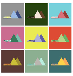 Set of icons in flat design mountain train vector