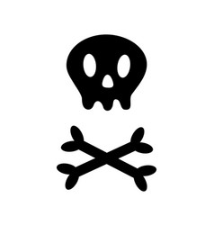 skull with bone crosswise icon shape white vector image