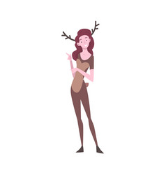 smiling girl dressed as deer young woman in vector image