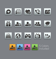 social communications icons - satinbox series vector image