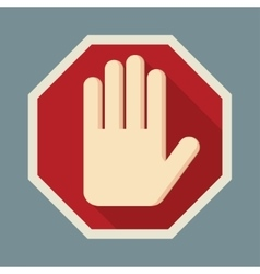 STOP Red octagonal stop hand sign vector