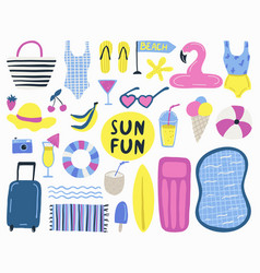 summer set with hand drawn elements vector image