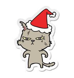 Tough sticker cartoon a cat wearing santa hat vector