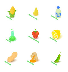 vitamin food icons set isometric style vector image