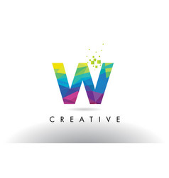 w colorful letter origami triangles design vector image