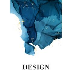 watercolor repetition liquid flow in navy blue vector image
