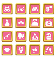 wedding icons set pink square vector image