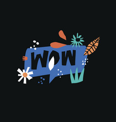 wow flat hand drawn lettering vector image