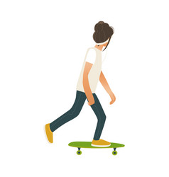 young man skateboarding isolated on white vector image