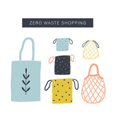 zero waste shopping toolkit flat lay vector image