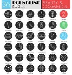 beauty cosmetics circle white black icon vector image