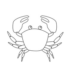 contour image of crab isolated on white background vector image