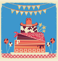 cowboy happy birthday card for text vector image vector image