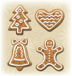 Set of Gingerbread Christmas Cookies on Beige vector image vector image