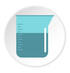 Blue measuring cup with water icon circle vector