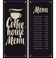 coffee house menu vector image vector image