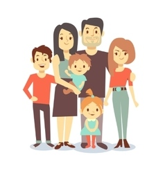 Cute cartoon family characters in casual vector image vector image