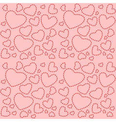 Cute pink seamless texture with red hearts vector image