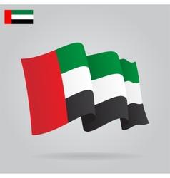 Flat and waving United Arab Emirates Flag vector image