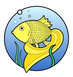 Gold fish with bubbles in water vector image