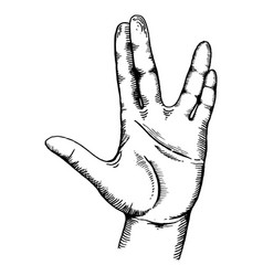 hand show gesture engraving vector image