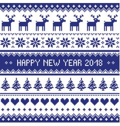 happy new year 2018 - scandinavian cross stitch pa vector image vector image