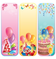 Vertical birthday banners vector image vector image