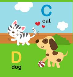 alphabet letter c-cat d-dog vector image vector image