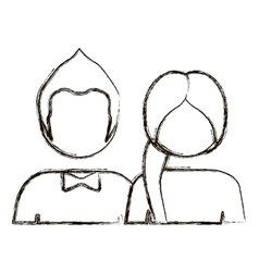 blurred silhouette with half body couple without vector image vector image