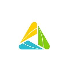 circle triangle color media logo vector image