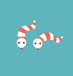 cute striped snake in red and white icon vector image