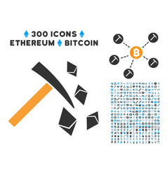 ethereum mining hammer flat icon with collection vector image vector image