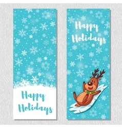 Happy Holidays design vertical background set with vector image vector image