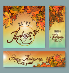 happy thanksgiving day background set vector image vector image