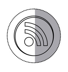 monochrome contour with circle sticker of wifi vector image vector image