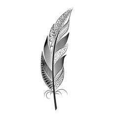 a large black and white feather with patterns vector image vector image