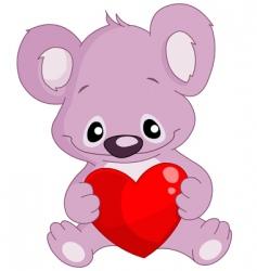 koala holding a heart vector image